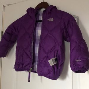 North Face Purpłe reversible girls winter coat 4T